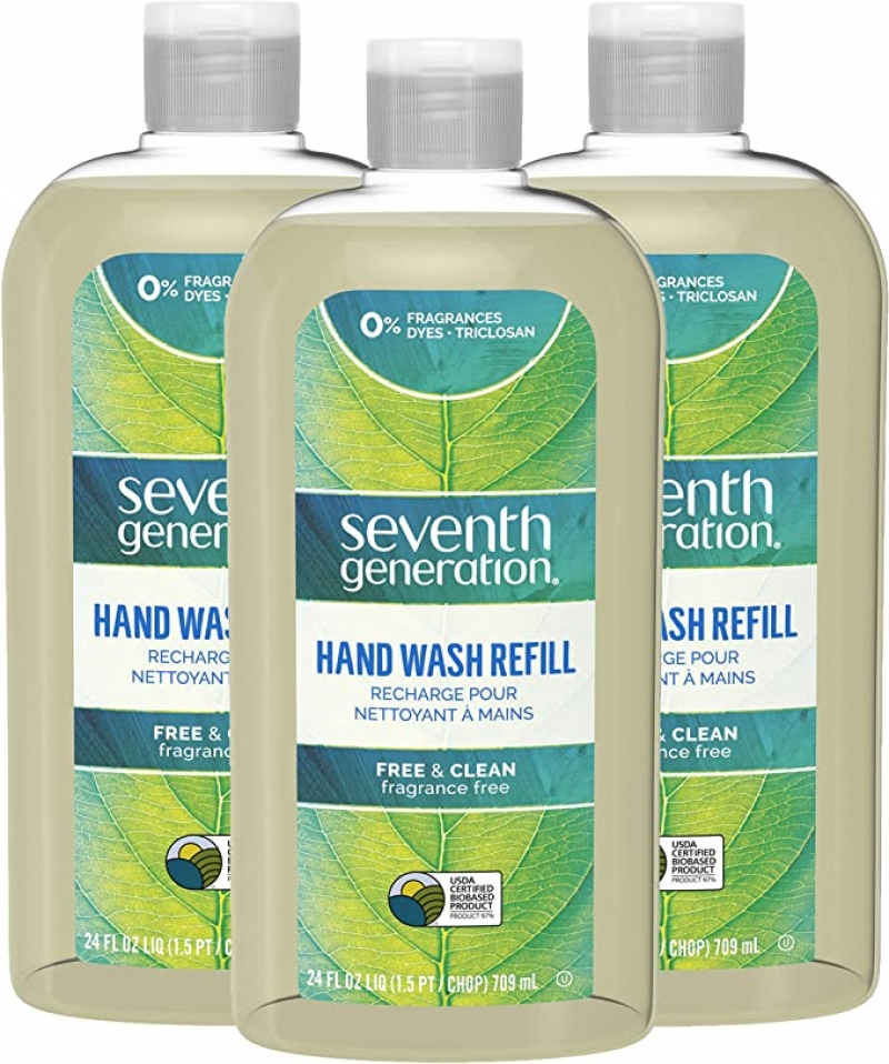 ihocon: Seventh Generation Liquid Hand Wash Soap Refill Free & Clear Unscented 24 oz, Pack of 3  洗手液皂