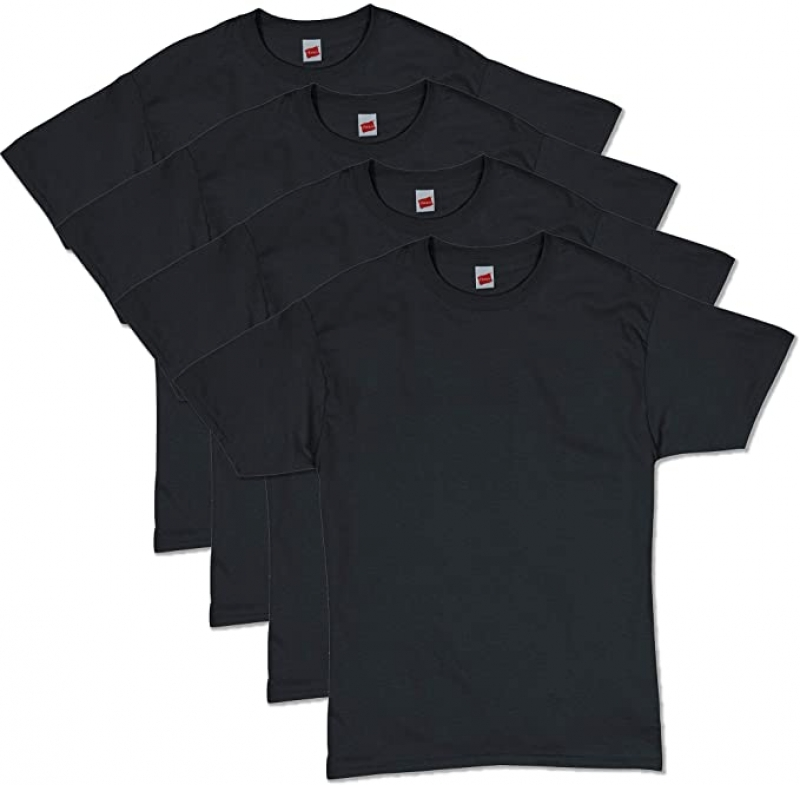 ihocon: Hanes Men's ComfortSoft Short Sleeve T-Shirt (4 Pack ) 男士短袖棉衫