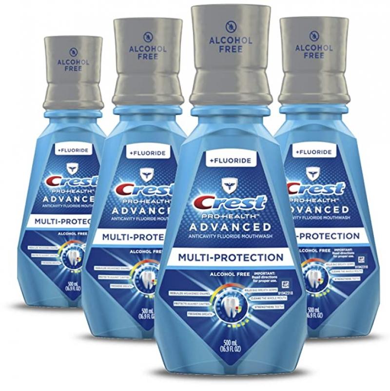 ihocon: Crest ProHealth Advanced Alcohol Free Extra Deep Clean Mouthwash Fresh Mint 500 mL 4 Count 無酒精深層清潔漱口水