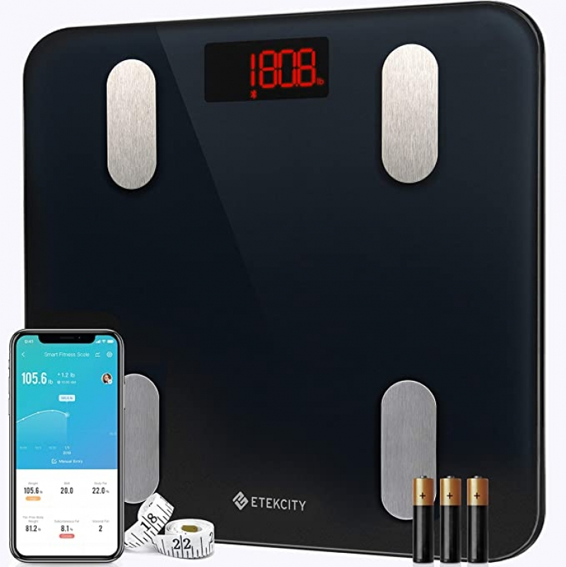 ihocon: Etekcity Digital Weight Scale for Body Fat, Smart Bluetooth Scale for BMI, and Weight Loss, Sync 13 Data with Other Fitness Apps智能體脂體重秤