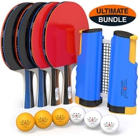 ihocon: NIBIRU SPORT Professional Ping Pong Paddle Set with Retractable Net (Bracket Clamps), Balls, and Posts (3-Star)專業乒乓球拍組,含可伸縮網, 球及球拍