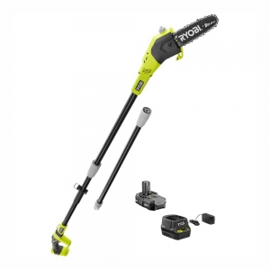 ihocon: RYOBI ONE+ 8 in. 18-Volt Lithium-Ion Cordless Pole Saw 1.3 Ah Battery and Charger Included 無線長杆電鋸, 含電池和充電器