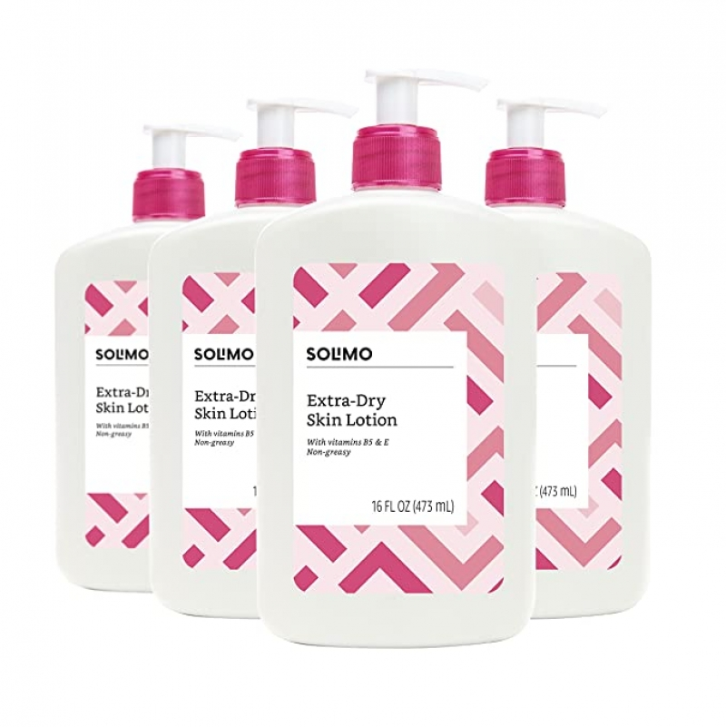 ihocon: [Amazon自家品牌] Solimo Extra-Dry Skin Lotion with Vitamins B5 & E, 16 Fluid Ounce (Pack of 4) 超乾燥皮膚保濕乳