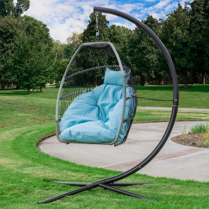 ihocon: Barton Premium Hanging Egg Swing Chair UV-Resistant Fluffy Cushion Patio Seating, Blue  懸掛式雞形鞦韆椅