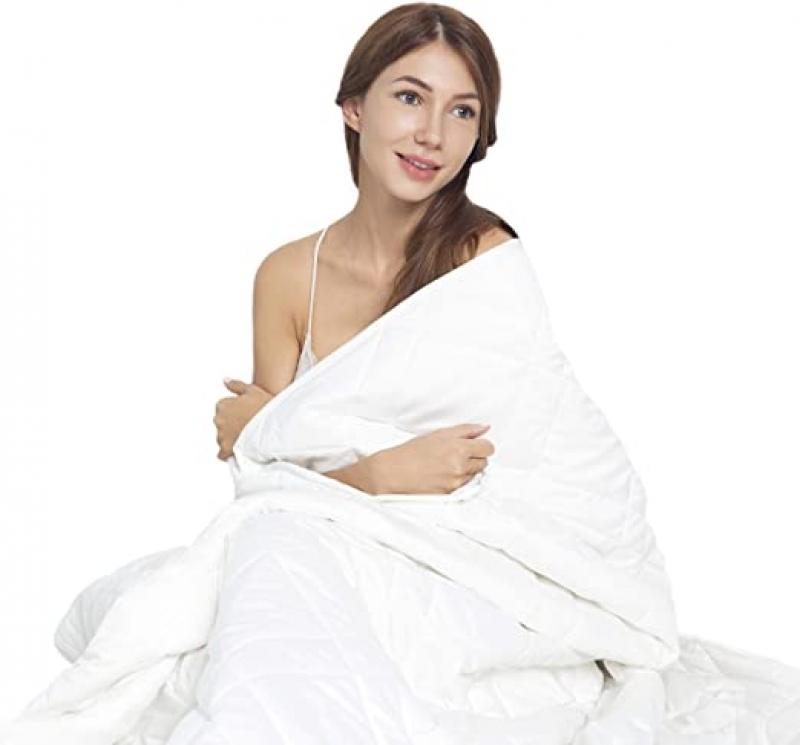 ihocon: [改善睡眼品質] Esinfy Weighted Blanket Sofa Blanket Breathable Fabric  100% Cotton | Grey | (White, 80x90 25 lbs)純棉加重毯