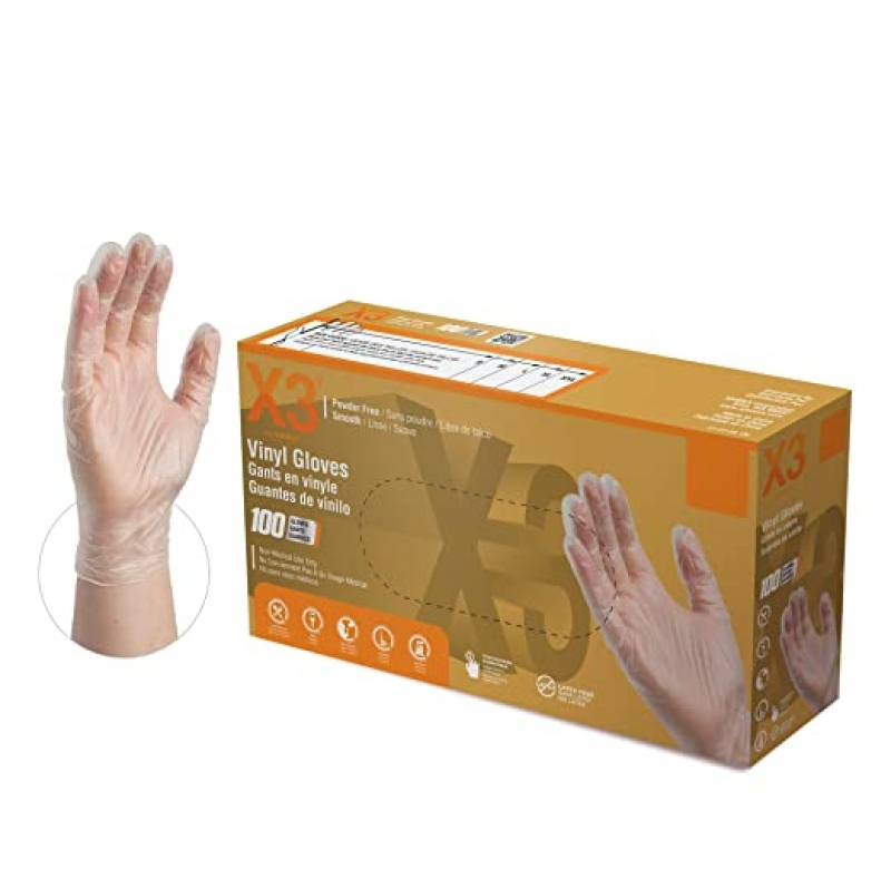 ihocon: X3 Clear Vinyl Industrial Gloves, Box of 100, 3 Mil, Size Small 一次性手套