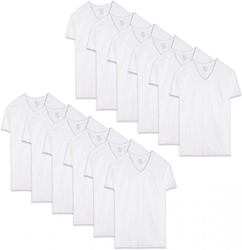 ihocon: Fruit of the Loom Men's V-Neck T-Shirt Stay Tucked Shirt, 100% Cotton 男士短袖衫 12件