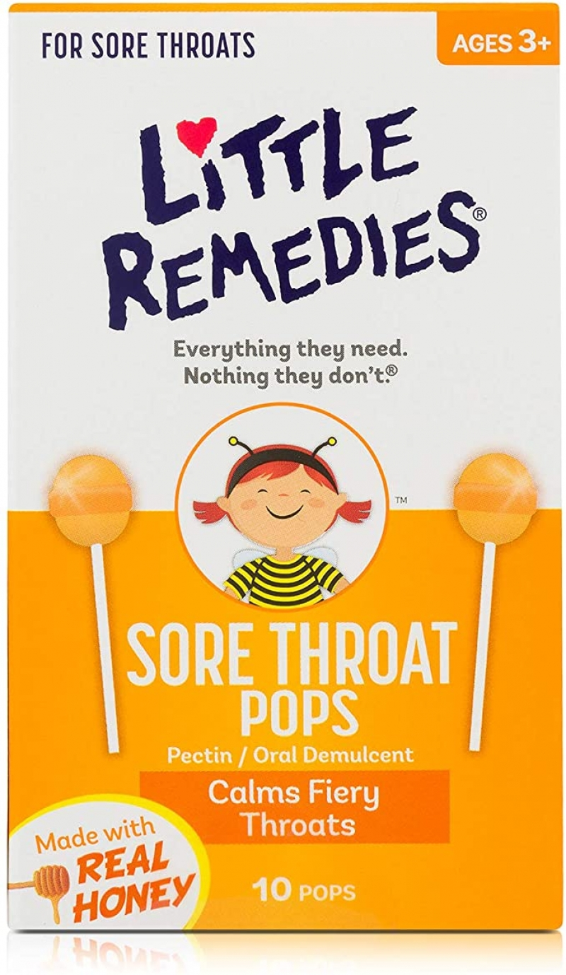 ihocon: Little Remedies Sore Throat Pops, Made With Real Honey, 10 Count 兒童蜂蜜喉糖
