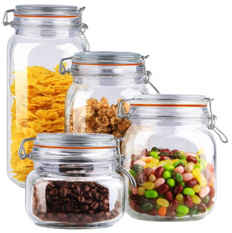ihocon: Home Basics 4-Piece Glass Canister Set, Clear 玻璃收納罐4個