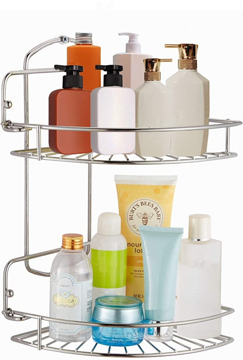 ihocon: Naturous 2 Tier Corner Shower Caddy 浴室角落不銹鋼雙層儲物架