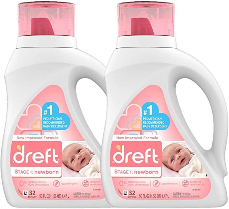 ihocon: Dreft Stage 1: Newborn Hypoallergenic Liquid Baby Laundry Detergent, 32 Loads, 50 Fl Oz (Pack of 2) 新生兒洗衣精