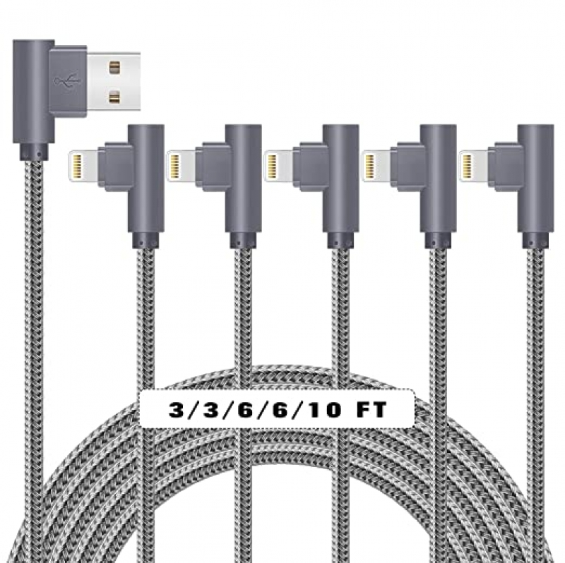 ihocon: Jeercor Right-Angled Braided Lightning Cable 5Pack (3/3/6/6/10ft) 直角充電線