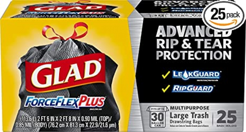 ihocon: Glad Large Drawstring Trash Bags ForceFlexPlus 30 Gallon Black Trash Bag - 25 Count 30加侖抽繩垃圾袋