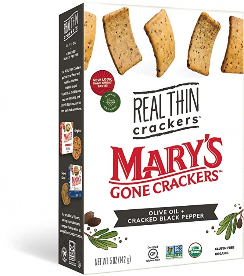 ihocon: Mary's Gone Crackers Real Thin Crackers, Organic, Gluten Free, Olive Oil Cracked Black Pepper, 5 Ounce (Pack of 6) 有機餅乾