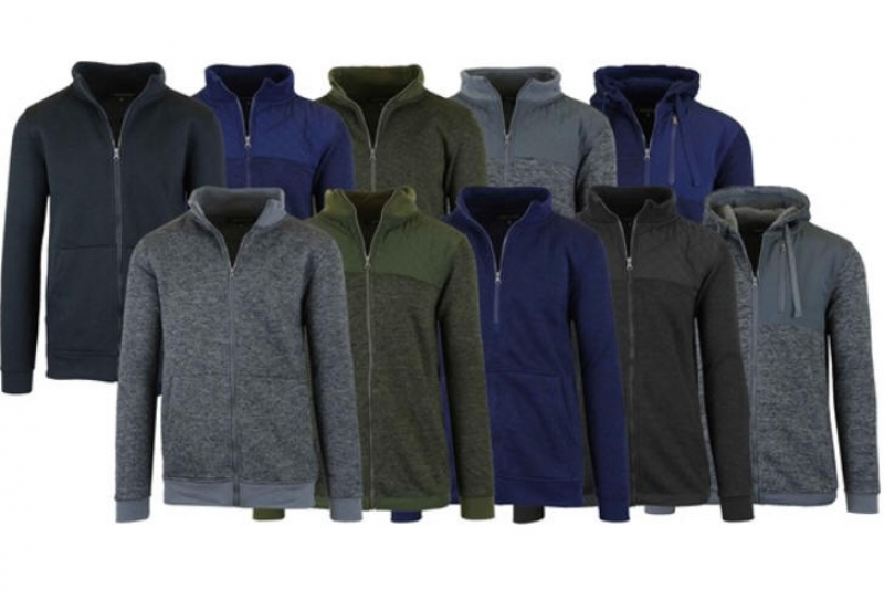ihocon: Men's Marled Fleece Zip Sweaters 3-Pack 男士夾克3件