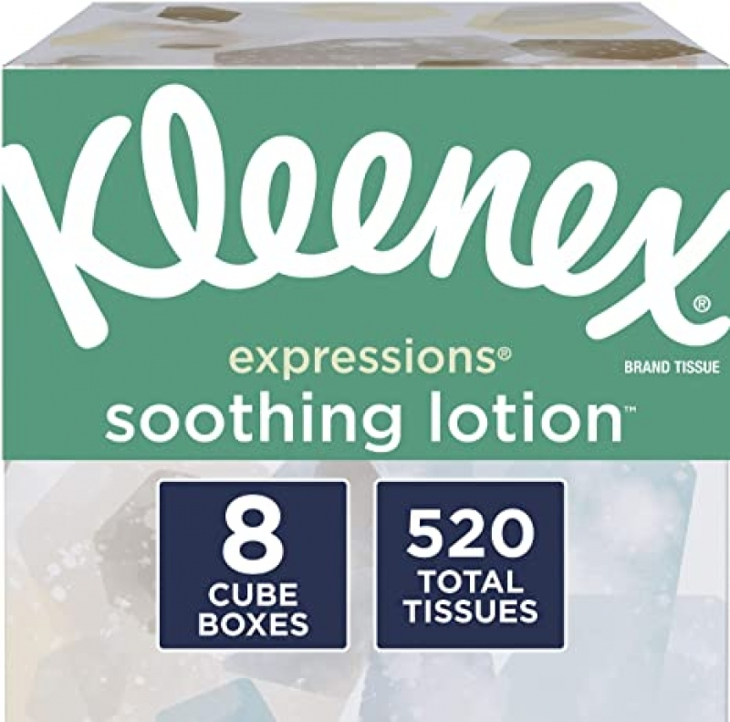ihocon: Kleenex Soothing Lotion Facial Tissues with Coconut Oil, Aloe & Vitamin E, 8 Cube Boxes, 65 Tissues Per Box (520 Total Tissues) 面紙