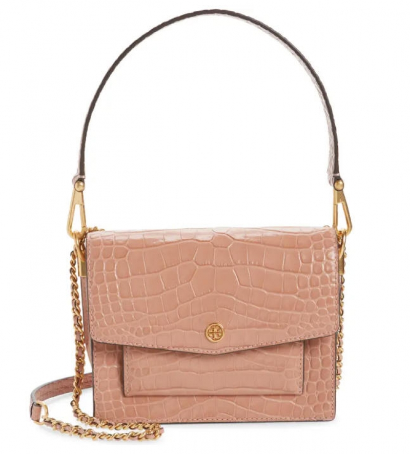 ihocon: TORY BURCH Robinson Embossed Double Strap Leather Flap Bag 真皮包包