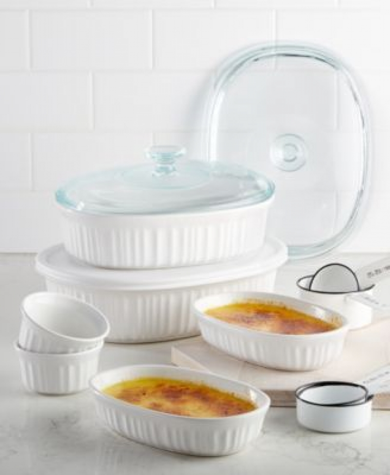 ihocon: Corningware French White 10-Pc. Bakeware Set 康寧烘培皿