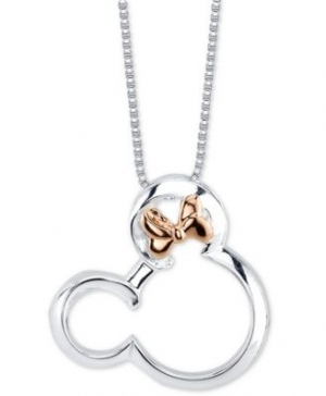 """ihocon: Disney's Minnie Mouse Pendant Necklace in Two-Tone Sterling Silver for Unwritten, 18"""" Chain 純銀迪士尼米妮項鍊"""