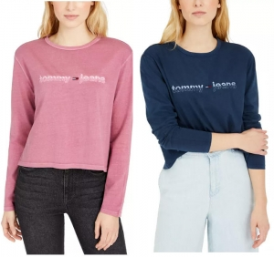 ihocon: Tommy Jeans Logo Graphic Cropped Long-Sleeve T-Shirt 女士長袖衫