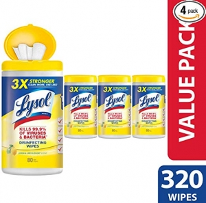 ihocon: Lysol Disinfecting Wipes, Lemon & Lime Blossom, 320ct (4X80ct)消毒濕巾