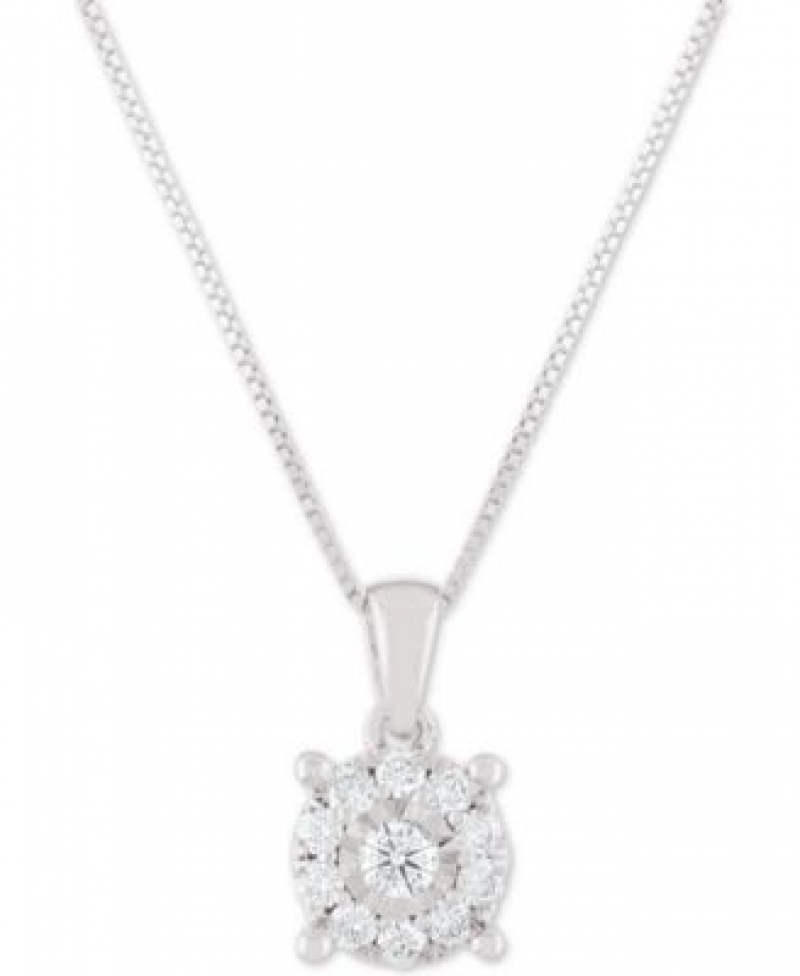ihocon: Macy's Diamond Halo 18 Pendant Necklace (1/3 ct. t.w.) 鑽石項鍊(白金, K金或是玫瑰金)