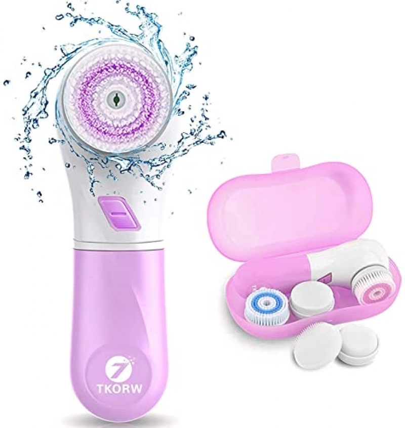 ihocon: TKORW IP68 Waterproof Facial Cleansing Spin Brush with 5 Rotating Brush Heads 電動潔面刷
