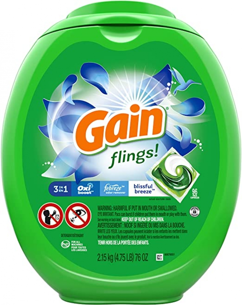 ihocon: Gain flings! Liquid Laundry Detergent Pacs, Blissful Breeze, 96 Count 洗衣膠囊