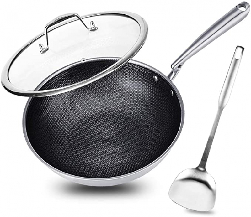 ihocon: Potinv 12.5 Stainless Steel Wok, Nonstick Stir Fry Pan with Lid and Spatula, Induction Compatible 含蓋不沾鍋 (電磁爐適用), 含炒菜鏟
