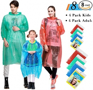 ihocon: Farielyn-X Rain Ponchos Family Pack/Adult, 8 Pack抛棄式雨衣