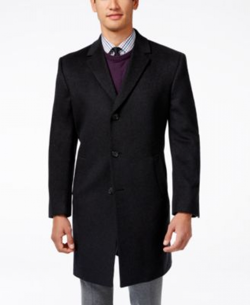 ihocon: Kenneth Cole Reaction Raburn Wool-Blend Over Coat Slim-Fit 男士羊毛混紡大衣