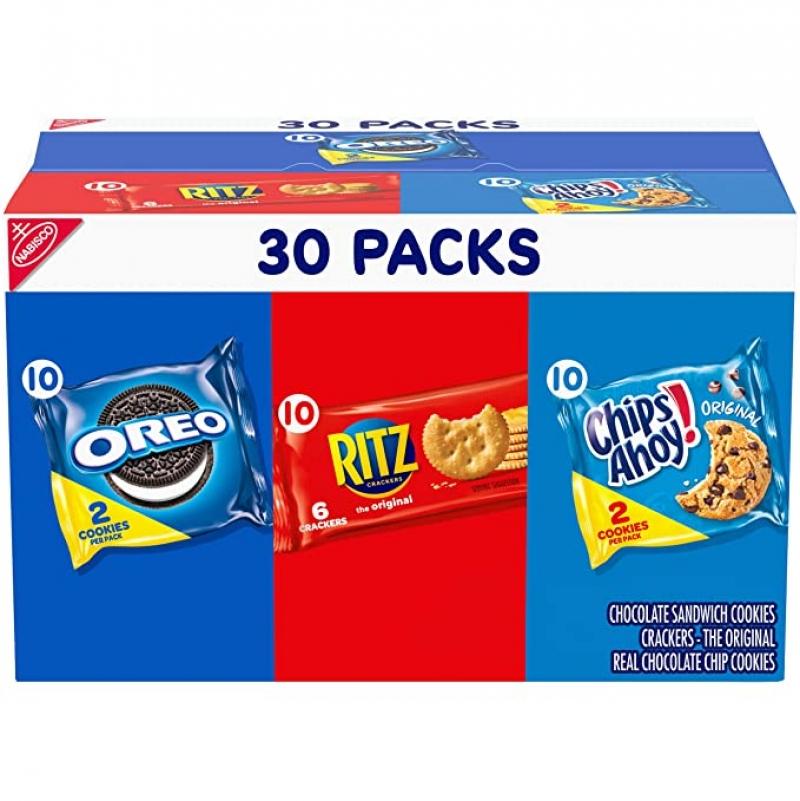 ihocon: Nabisco Cookies & Cracker Variety Pack, OREO, RITZ & CHIPS AHOY!, 30 Snack Packs 綜合點心
