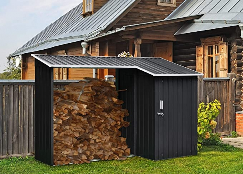 ihocon: Hanover HANMLTIWDSHD-Gry 2-in-1 Galvanized Steel Multi-Use Shed with Firewood Storage 金屬儲物室