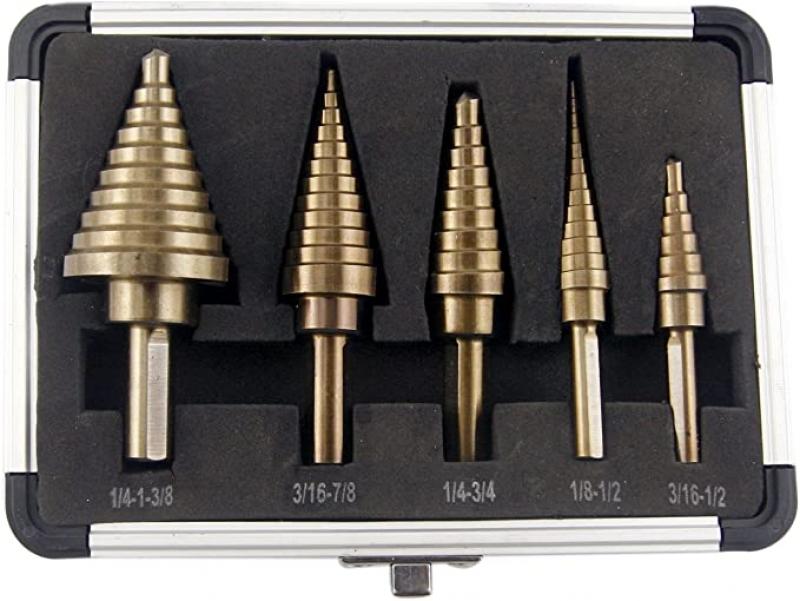 ihocon: CO-Z 5pcs Hss Cobalt Multiple Hole 50 Sizes Step Drill Bit Set with Aluminum Case  鑽頭5個含收納盒