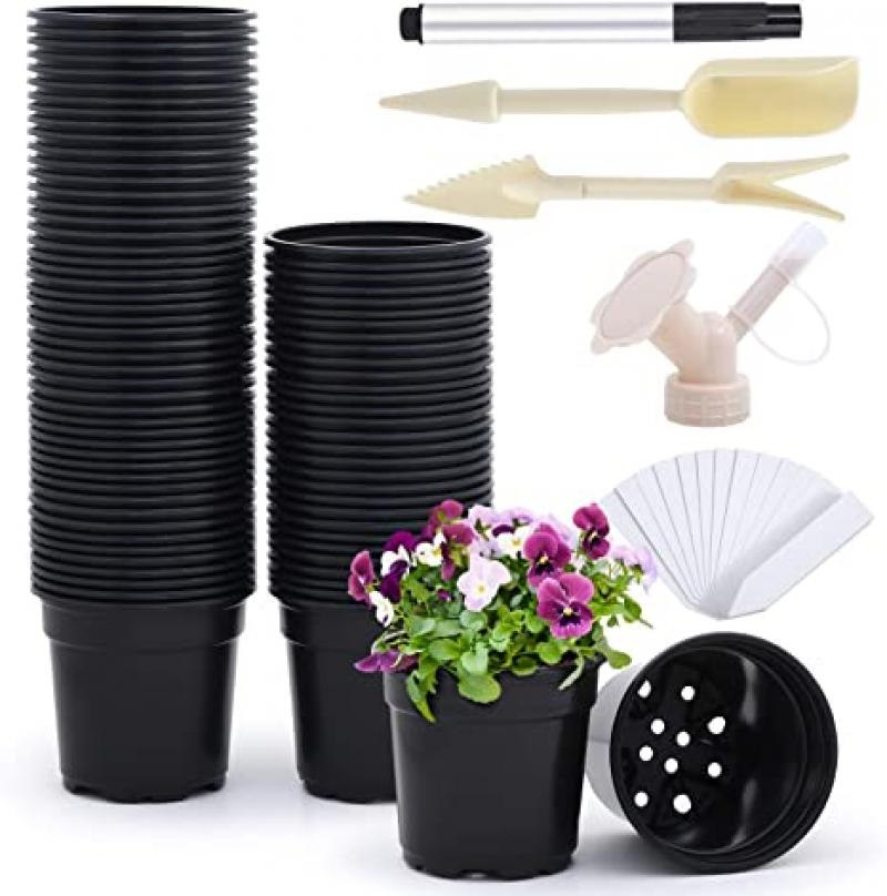 ihocon: Ohuhu Extra-Thickened 4 Inch Plastic Plant Nursery Pots 超厚 4吋塑膠花盆