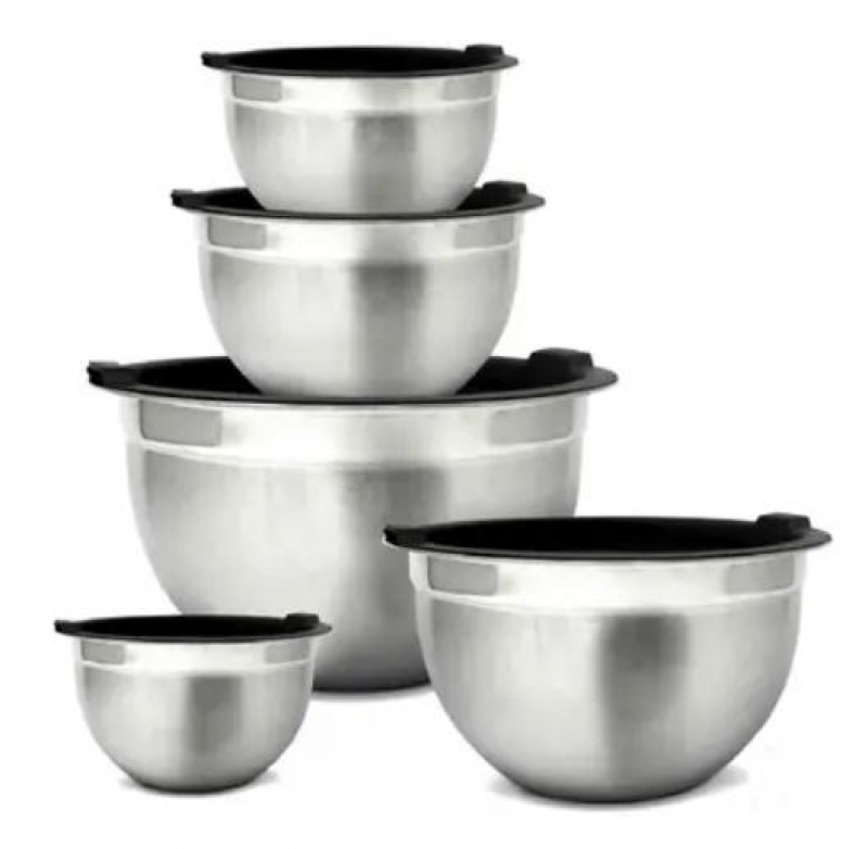 ihocon: Glomery Stainless Steel Mixing Bowls and Airtight Lids - Set of 5 不銹鋼含蓋攪拌碗
