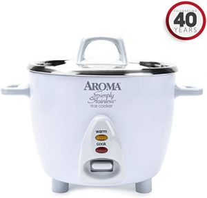 ihocon: Aroma Simply Stainless Rice Cooker, White [Cooks 3 cups of uncooked rice] 不銹鋼電飯鍋