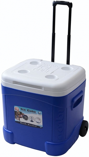 ihocon: Igloo Ice Cube Roller Cooler (60-Quart, Ocean Blue) 有輪保冷箱