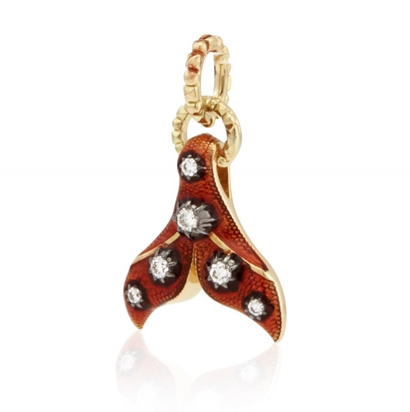 ihocon: Gucci 18k Yellow Gold Diamond And Red Enamel Charm 鑽石琺瑯鍊墜