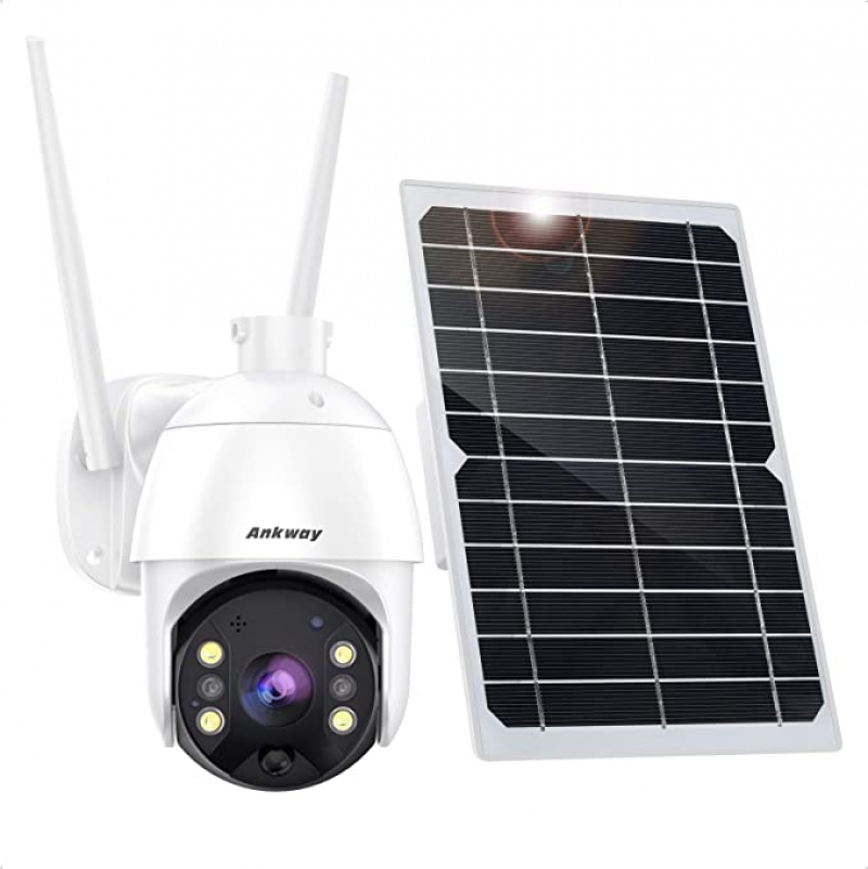 ihocon: Ankway 1080p Solar WiFi IP65 Waterproof Security Cam with 18000mAh Rechargeable Battery 太陽能居家安全監視鏡頭
