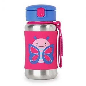 ihocon: Skip Hop Kids Water Bottle With Straw, Stainless Steel Sippy Cup, Butterfly不銹鋼吸管水瓶, 12oz
