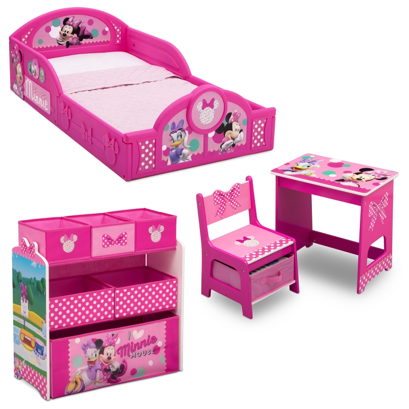 ihocon: Delta isney Minnie Mouse 4-Piece Room-in-a-Box Bedroom Set 米妮幼兒傢俱