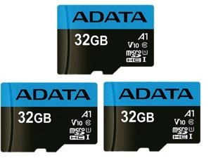 ihocon: 3-Pack ADATA Premier 32GB UHS-I / Class 10 566x MicroSDHC Memory Card with SD Adapter記憶卡