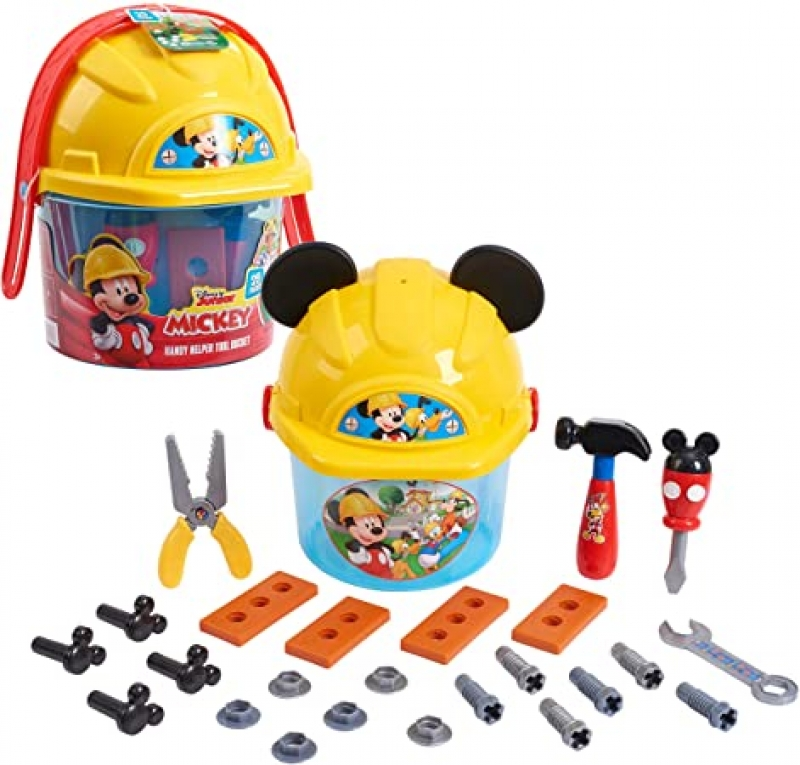 ihocon: Disney Junior Mickey Mouse Handy Helper Tool Bucket Construction Role Play Set, 25-pieces 迪士尼米奇玩具工具桶組
