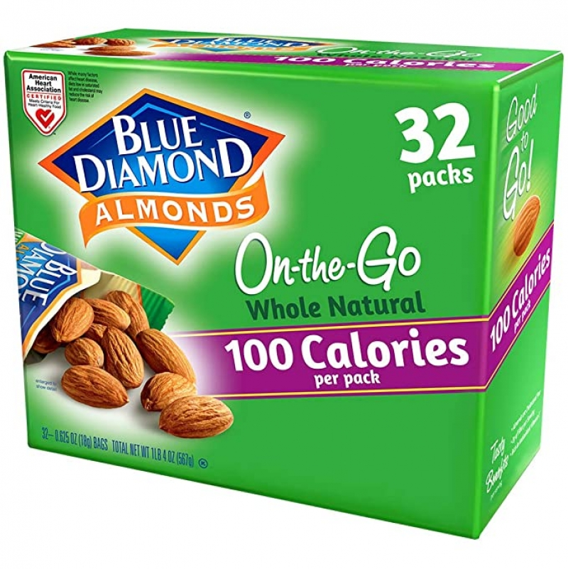 ihocon: Blue Diamond Almonds Whole Natural Raw Almonds 100 Calorie On The Go Bags, 32 Count 杏仁