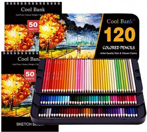 ihocon: Cool Bank Artist Pencils Set 120-Pieces with 2x50 Page Drawing Pad(A4)彩色鉛筆及2本素描本