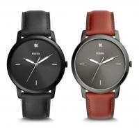 ihocon: Fossil THE MINIMALIST CARBON SERIES THREE-HAND BLACK LEATHER WATCH男鑽錶-3色可選
