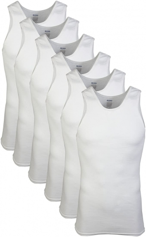 ihocon: Gildan Men's A-Shirts Multipack 男士純棉無袖衫 6-Pack