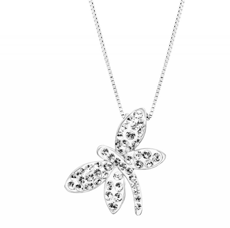 純銀鑲施華洛世奇水晶蜻蜓項鍊 $17.40(原價$89)