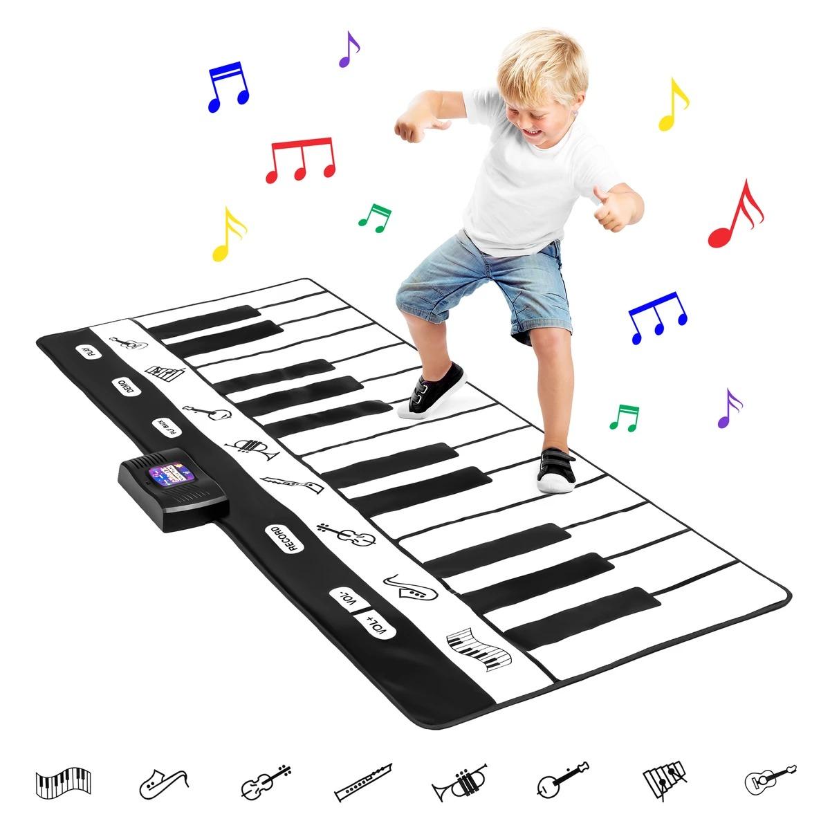 ihocon: Giant Piano Keyboard Playmat w/ 8 Instrument Settings - Black/White 大型鋼琴鍵盤遊戲墊